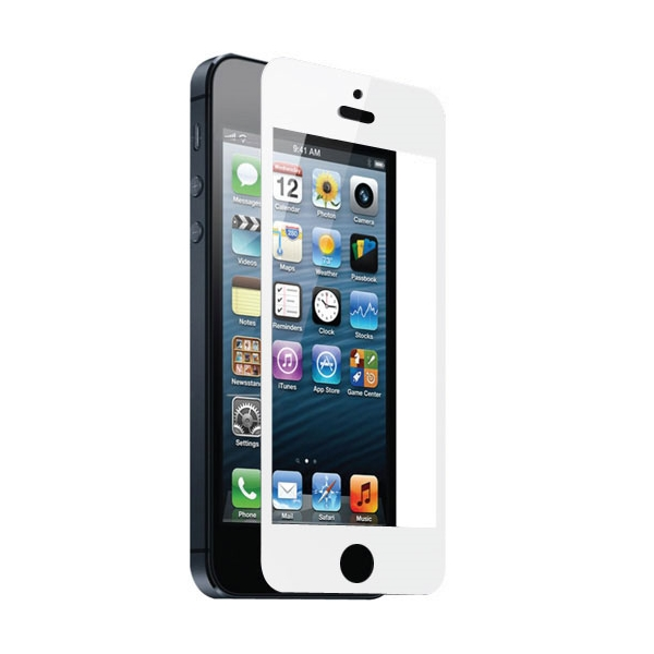 teknmotion real glass screen shield for iphone 5 5s white. Black Bedroom Furniture Sets. Home Design Ideas